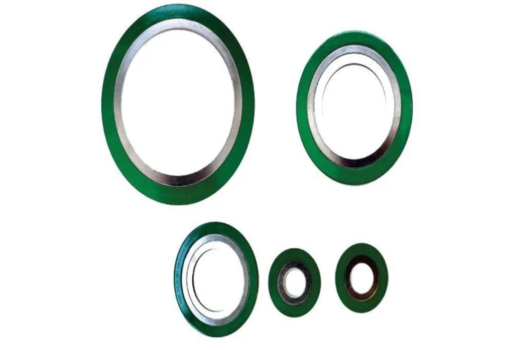 Fornecedor de produtos de borracha: juntas de vedação nas cores prata e verde.